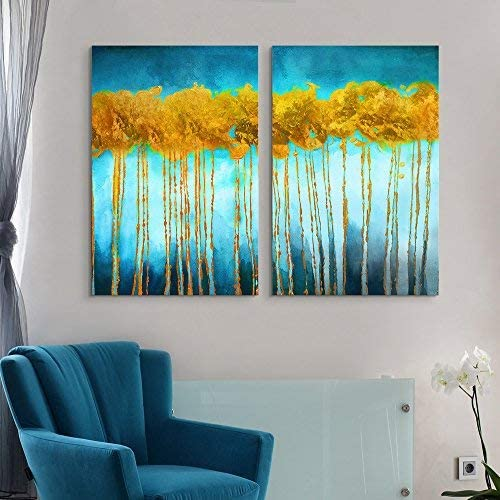 2 Panel Oil Painting Style Abstract Golden Trees on Blue Background x 2 Panels