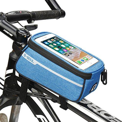 (Upgrade Mountain Bike Bag Front Beam Bag Bicycle Bag Road Car Front Bag Riding Equipment Saddle Bag Tube Bag-Blue )
