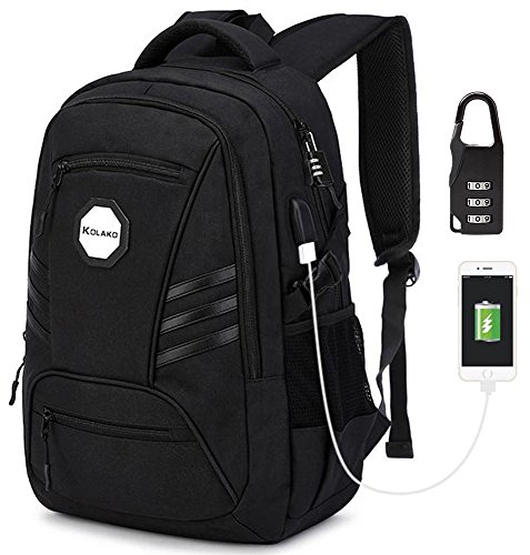 KOLAKO Business Laptop Backpack, Waterproof Casual Hiking Travel Daypack, Anti-Theft Durable College Computer Backpacks Bookbag with USB Charging Port for Men/Women, Fits 15.6 inch Laptop and Tablet
