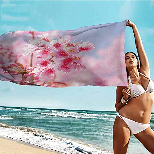 Antonia Reed Quality Beach Towel Floral,Sakura Blossom Branches Flower Essence Fragrance Nature Inspired Picture,Light Pink Purplegrey,Suitable for Home,Travel,Swimming Use 32