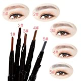CALISTOUS 1Pc Waterproof Automatic Eyebrow Pencil Easy To Wear Looks Natural Pretty 2# Dark Brown