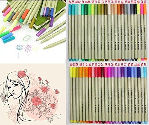 Yosoo 0.3mm Line Width 48 Assorted Colors Set of Fineliner Sketch Fineliner Drawing Pen, Water Based Gel Ink Colored Pens, Fine Point Markers Pen (48 Color (0.3 Mm Fineliner Pens)