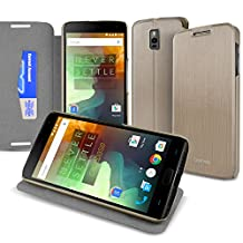 CaseBase® Ultra-Slim Premium Folio Case Cover with Flip-Stand for New OnePlus Two (Gold)
