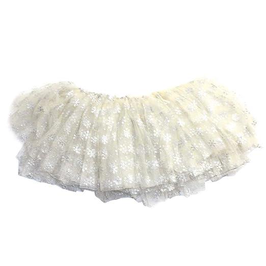 Niñas falda del tutú de tul Partido niños Blanco del copo de nieve ...