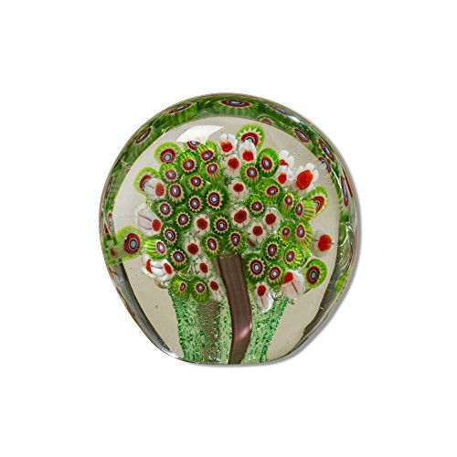 Globe Shape Paperweight - Whole House Worlds The Naturally Modern Green Millefleurs Paperweight, Handcrafted, Art Glass, Round Drop Shape, 3 1/2 L x 2 W x 3 1/2 H, Flat Bottom, By WHW