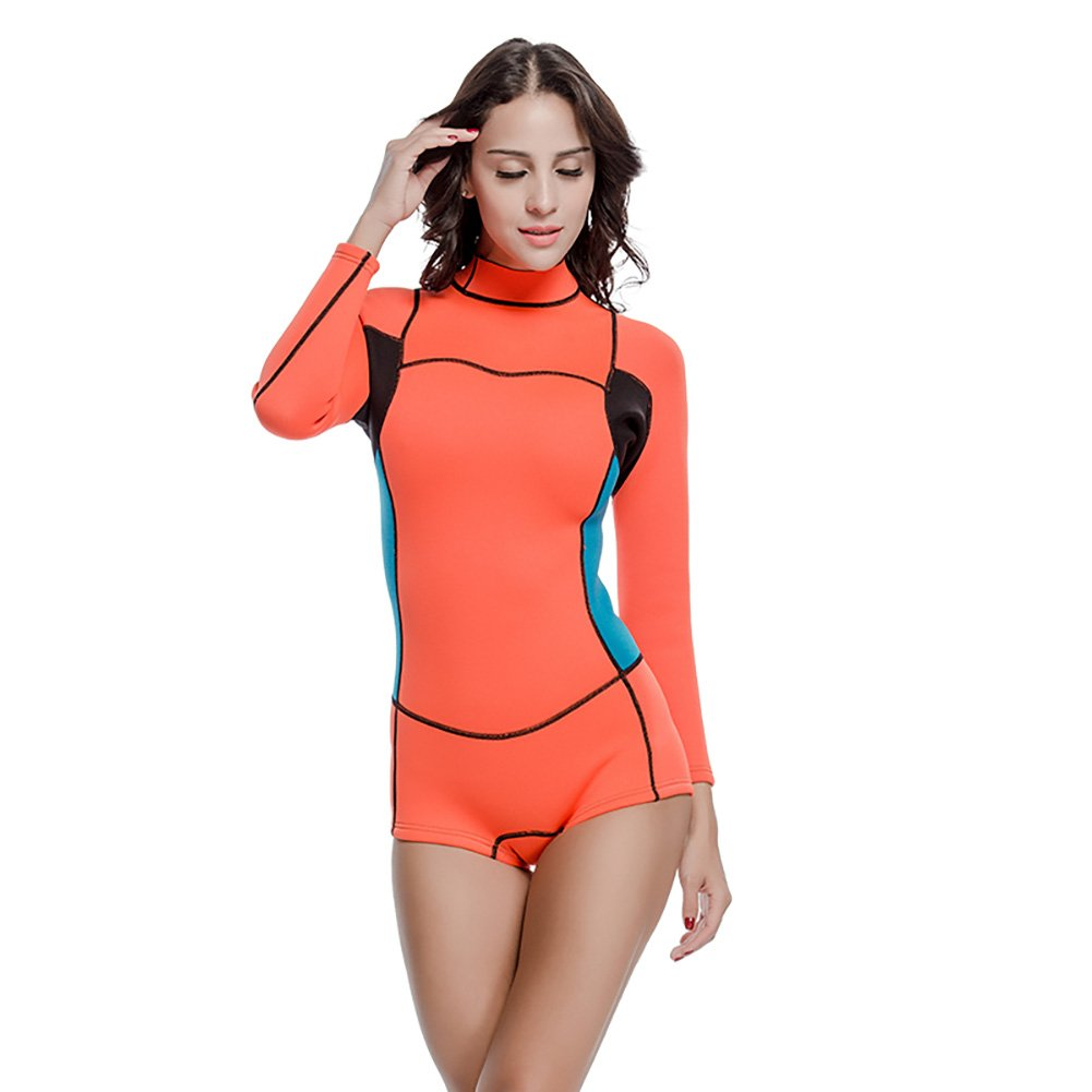 63316bbf2aa7e Amazon.com   Lynddora Womens One Piece Long Sleeve 2MM Neoprene Diving Wetsuit  Top Warm Protection   Sports   Outdoors