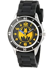 Batman Kids' Analog Watch with Silver-Tone Casing, Black Bezel, Black Strap - Official Yellow/Black Batman Logo on the Dial, Time-Teacher Watch, Safe for Children - Model: BAT9152