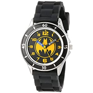Batman Kids' Analog Watch with Silver-Tone Casing, Black Bezel, Black Strap – Official Yellow/Black Batman Logo on The Dial, Time-Teacher Watch, Safe for Children – Model: BAT9152
