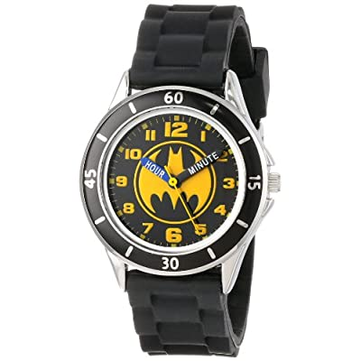 Batman Kids' Analog Watch with Silver-Tone Casing, Black Bezel, Black Strap – Official Yellow/Black Batman Logo on The…