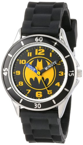 Batman Kids' Analog Watch with Silver-Tone Casing, Black Bezel, Black Strap - Official Yellow/Black Batman Logo on the Dial, Time-Teacher...