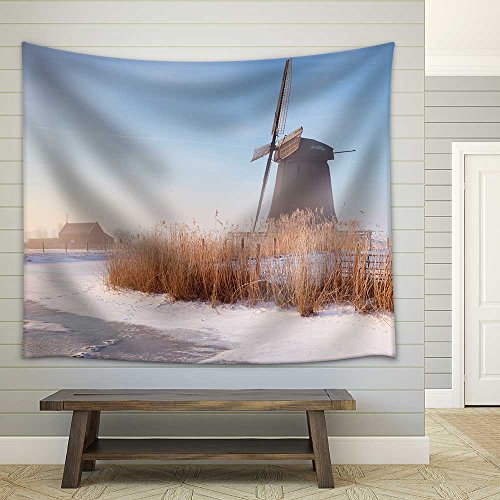 Traditional Dutch Windmills on a Beautiful Frosty and Foggy Morning Fabric Wall Tapestry