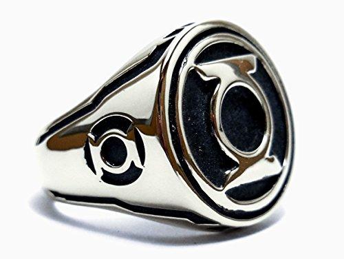 925 Sterling Silver (WILL) Green Lantern ring All Size Style Heavy Biker Harley Rocker Men's Jewelry, Silver rings