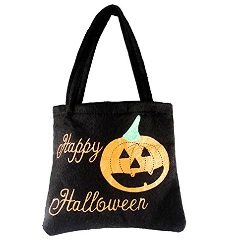 Halloween Pumpkin Bag,Halloween Trick or Treat Pumpkin Candy Tote Bag for Halloween Party Costumes ,YRH Gift Sacks Pumpkin Bags for Kids Presents (1 black)