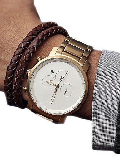 Montres Hommes mvmt relojes de hombre de Sport de cuarzo relojes Masculino reloj correa de cuero masculino Relojes Relojes de oro idea, Gold-White: ...