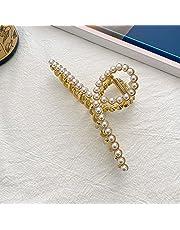 EZ Peach Large Premium Gold Crystal Metal Claw Clips, Large Gold Crystal Hair Clips, Rhinestone Claw Clips, Crystal Metal Claw Clips for Women, Pearl Hair Clips