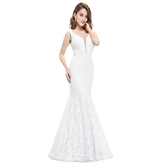 1ca0ace76f94b Wowful Corset Lace Mermaid Wedding Dresses Simple Elegant Wedding Gowns for  Bride (4) White