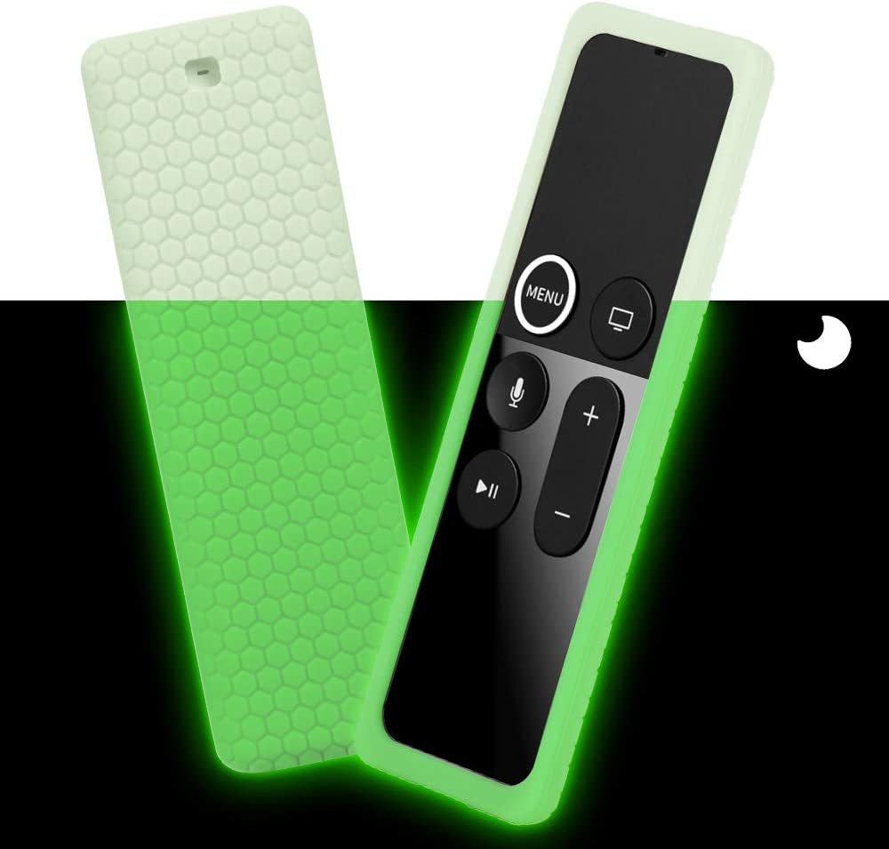 Remote Silicone Case Compatible with Apple TV 4K 4th 5th Gen Remote, Full Access, Anti-Slip, Shock Proof Protective cover (HoneyComb Series) for Apple TV 4K 4th 5th Siri Remote Controller (Green Glow)
