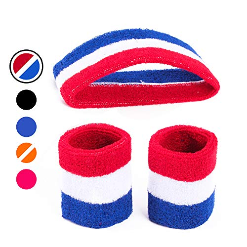 AFLGO Sweatband Set for Sports, Workout, Training & Exercise | 1 Headband & 2 Wristbands Cotton to Pair with Your Athletic Costume Apparel | Comfy & Durable Sport Accessories for Men (Red/White/Blue)