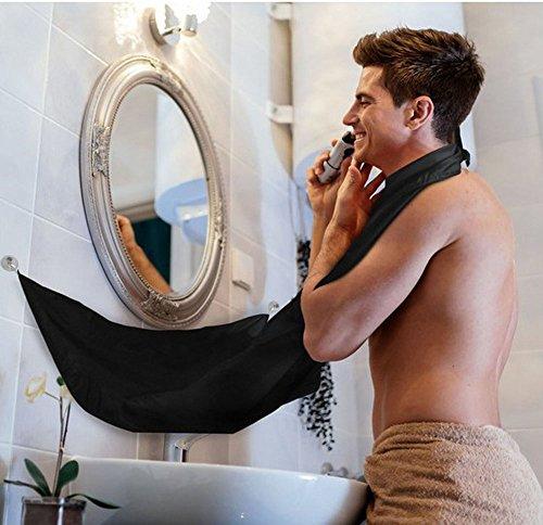 - Efanr Black Beard Apron with Suction Cups Cape Facial Beard Barber Shaving Wai Cloth Hair Catcher Repair Beard Bib Scarves Hair Shave Apron Kit for Men Portable