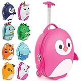 Boppi Tiny Trekker Kids Luggage Travel Suitcase Carry On Cabin Bag Holiday Pull Along Trolley Lighweight Wheeled Holdall 17 Litre Hand Case - Pink Penguin