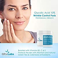 Glycolic Acid 10% Wrinkle Control Pads with 10% Ultra Pure Glycolic Acid, Allantoin, Vitamins B5, C & E, Calendula & Green Tea Extracts - Helps keep skin smooth and prevents wrinkles and lines made by QRxLabs
