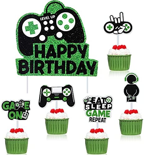31 Piece Video Game Happy Birthday Cake Toppers Glittery Video Game Cake Decorations Picks Playstation Birthday Party Banner Game Controller Birthday Party Game Backdrop for Kid Gaming Themed Birthday