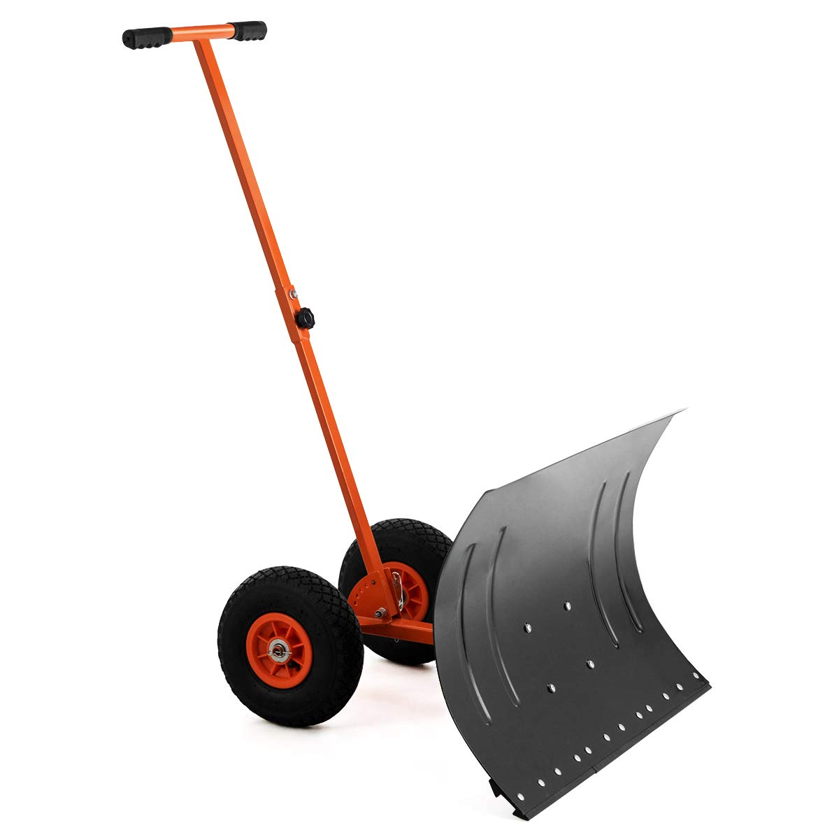 GYMAX Wheeled Snow Pusher, Heavy Duty Rolling Snow Pusher with Anti-Skid Wheels & Adjustable Handle, Driveway or Pavement Snow Removal Tool (Orange) by GYMAX
