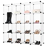 LANGRIA 16-Cube DIY Modular Shelving Storage Organizing Open Closet with Translucent Panel Design for Clothes, Shoes, Toys