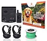 Wireless Combo Electric Dog Fence System with Remote Dog Training Collar by PetControlHQ, Safe Electric Pet Containment with 2 Waterproof, Rechargeable Dog Shock Collars & Invisible Wire Fence