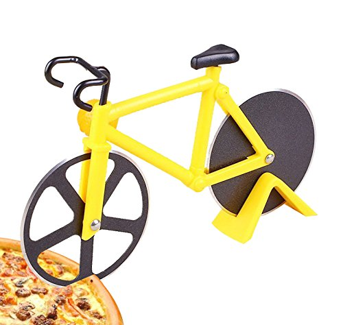 Pizza Cutter Wheel Rocker Slicer Knife Chef Kitchen Homemade for Pies Waffles Dough Cookie Non-Stick Stainless Steel bicycle shape,1 Pcs (Yellow)