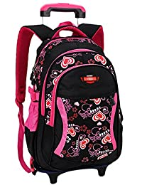 Kids Rolling Backpack,Coofit School Roller Backpack with Wheels Rucksack Backpack for Girls Boys