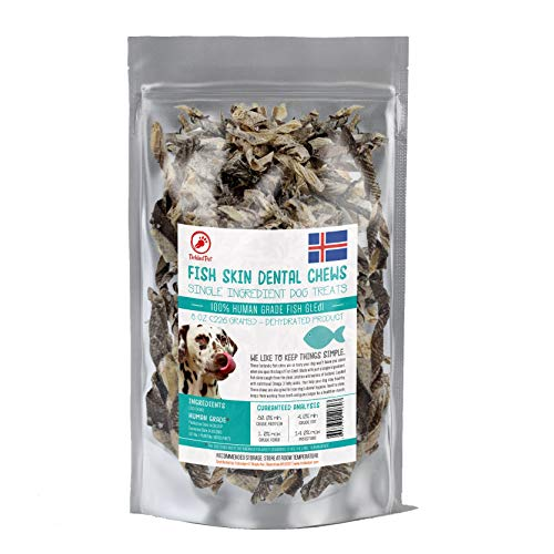 TickedPet Icelandic Cod Fish Skin Treats For Dogs - Wild Caught Single Ingredient Chews