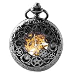 BOSHIYA Mens Vintage Skeleton Pocket Watch Steampunk Windup Half Hunter Mechanism Gear Cover with Chain 12