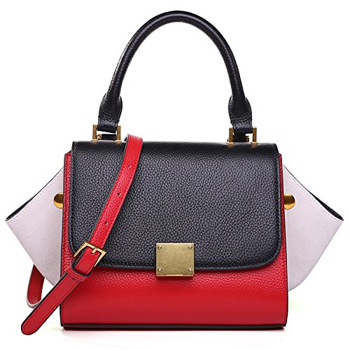 Black+red+white AI BAO Women's Leather Bat Bag Stylish Hit color Shoulder Diagonal Bag Tote Package Handbag