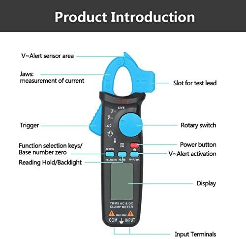 DXX-HR Digital Clamp Multimeter AC/DC Voltage Current Resistance Temperature Tester 6000Count