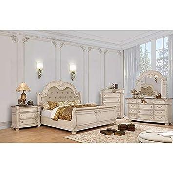 Amazon.com: 4pc Set Eastern King Size Bed Antique Whitewash ...