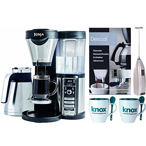Ninja Coffee Brewer with Knox mugs, Milk Frother, Urnex Descaling Powder (4 pk) by Ninja