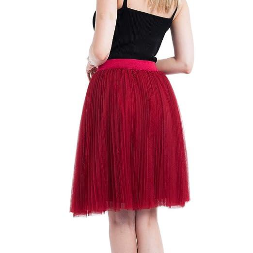 Falda de tul larga hasta la rodilla para mujer, 4 capas, plisada ...