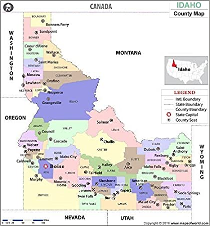 Amazon.com : Idaho County Map - Laminated (36\
