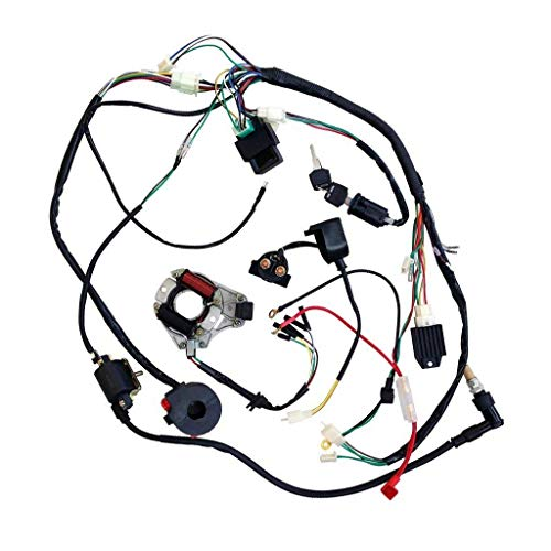 JCMOTO Full Wiring Harness Loom kit CDI Coil Magneto Kick Start Engine for 50cc 70cc 90cc 110cc 125cc ATV Quad Bike Buggy Go Kart Pit Dirt Bikes: