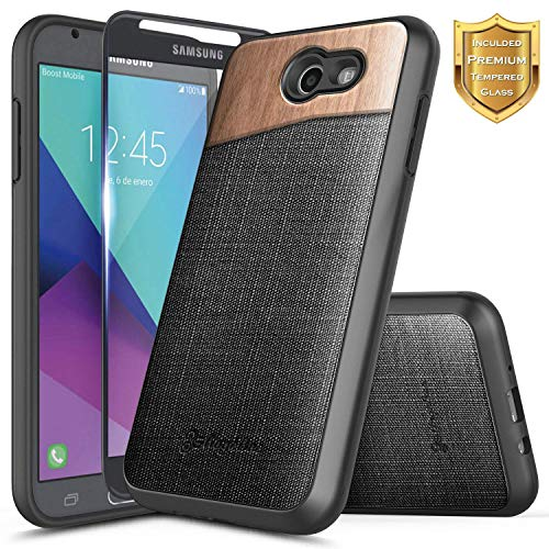 Galaxy J3 Luna Pro Case, J3 Prime /J3 Mission /J3 Emerge /J3 Eclipse w/[Tempered Glass Screen Protector] NageBee Premium [Natural Wood] Canvas Fabrics Shockproof Rugged Case for Samsung J3 2017 -Wood