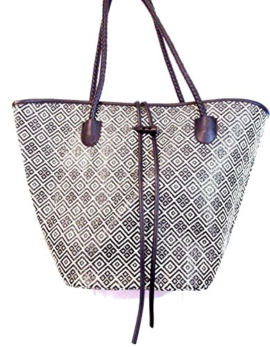 neiman-marcus-camp-gorgeous-black-white-straw-woven-pattern-large-tote-bag-black