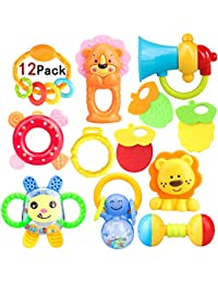 ZesGood 12 Piece Baby Rattle Newborn Toys Fun Cartoon Musical Flash Teether Handle and Rattle Play Toy Gift Set (9pcs Toys + 3pcs Teether) BOBEBE Online Baby Store From New York to Miami and Los Angeles