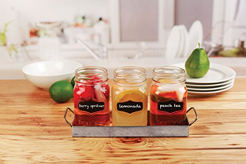 Circleware 69072 Yorkshire Chalkboard Mason Jar Glasses with Metal Holder Stand Set of 4, Home & Kitchen Farmhouse Décor Drink Tumblers for Water, Beer and Beverages, 17 oz, Galvanized by Circleware (Image #3)