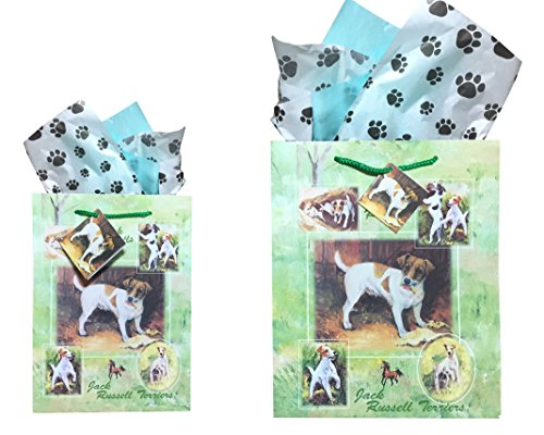 Dog Breed Gift Bags Set of Two with Tissue Paper (Jack Russell Terrier) (Jack Russell Dachshund)