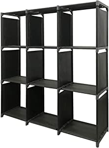 TXT&BAZ 9-Cube Storage Organizer,DIY Storage Shelf,Open Bookshelf ,Black