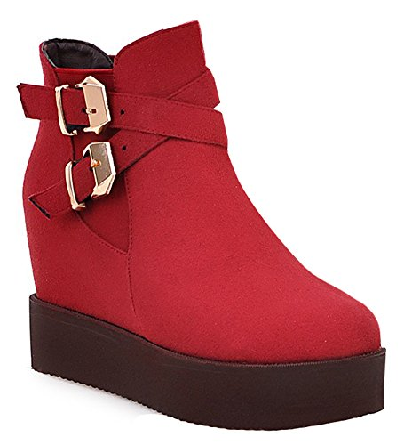 Suede Ankle Red Platform Heels Buckled High Elevator Booties Womens Wedge IDIFU Dressy Faux FwRqvwz