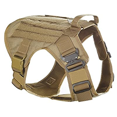 SHI RUI Water-Resistant Tactical Military K9 Dog Harness Vest Walking Hiking Hunting MOLLE Training Harness for Service Dog