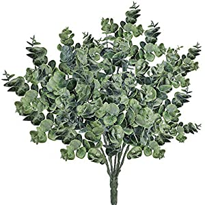 Supla Pack of 3 Faux Eucalyptus Leaves Spray Artificial Greenery Stems Fake Silver Dollar Eucalyptus Branches Plants in Dusty Green 14.6″ Tall x 10″ Wide for Greenery Wedding Jungle Theme Party