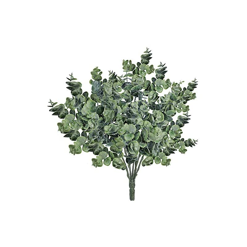 """silk flower arrangements supla pack of 3 faux eucalyptus leaves spray artificial greenery stems fake silver dollar eucalyptus branches plants in dusty green 14.6"""" tall x 10"""" wide for greenery wedding jungle theme party"""
